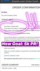 Carlsbad 5000 Entry Confirmation